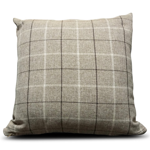 Beige Maurice Check 56cm x 56cm Cushion