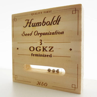 depicted is humboldt seeds ogkz packaging. og kush is one of the most famous marijuana strains