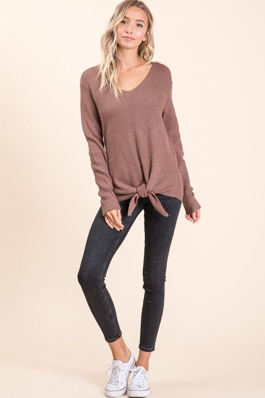 Front Tie V-Neck Sweater