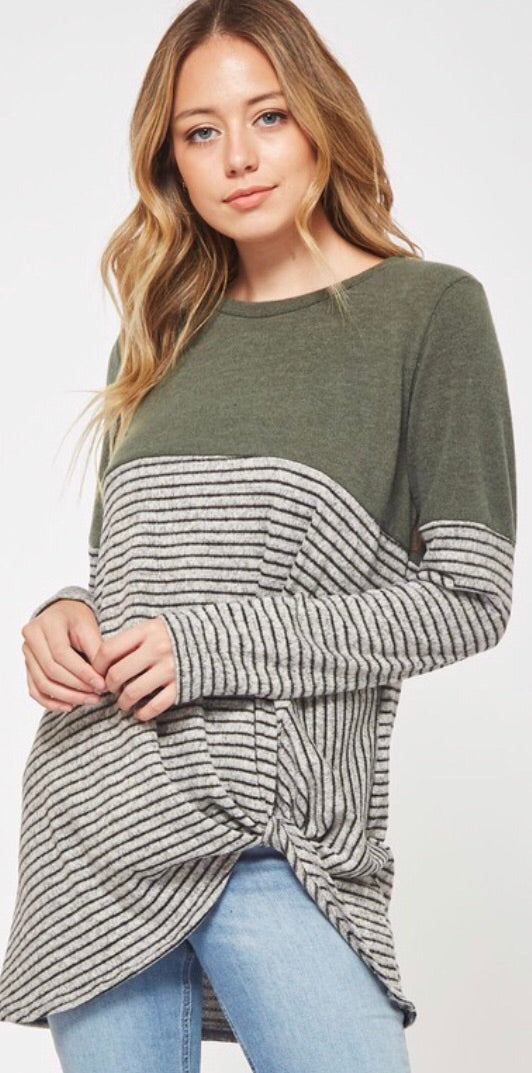 Olive Side Knot Contrast Top