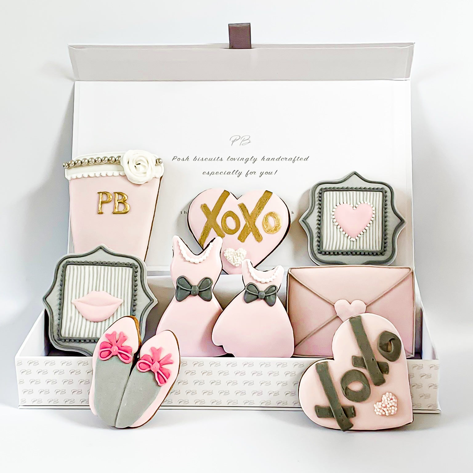 Posh Pink Biscuits luxe A4 magnetic box