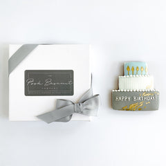 Posh Happy Birthday Blue single biscuit gift box