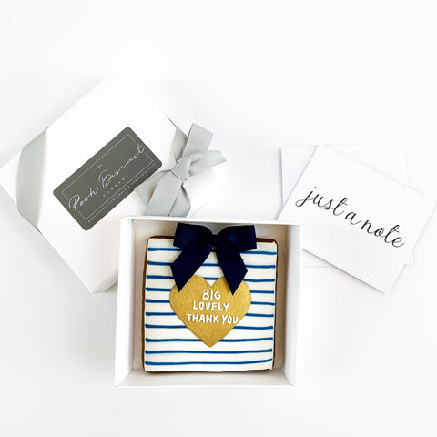 Posh Blue Thank You Card single biscuit gift box