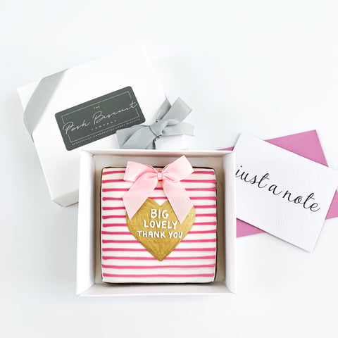 Posh Pink Thank You Card single biscuit gift box