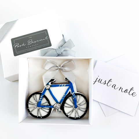 Posh Blue Bicycle single biscuit gift box