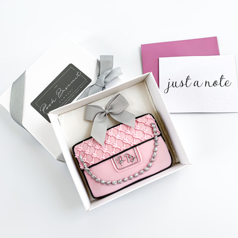 Posh Clutch Bag & Silver Chain single biscuit gift box