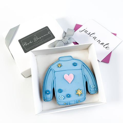 Posh Denim Jacket single biscuit gift box