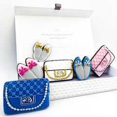Posh Summer Clutch Bags & Ballet Pumps luxe magnetic box