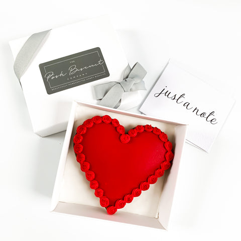 Posh Red Heart single biscuit gift box