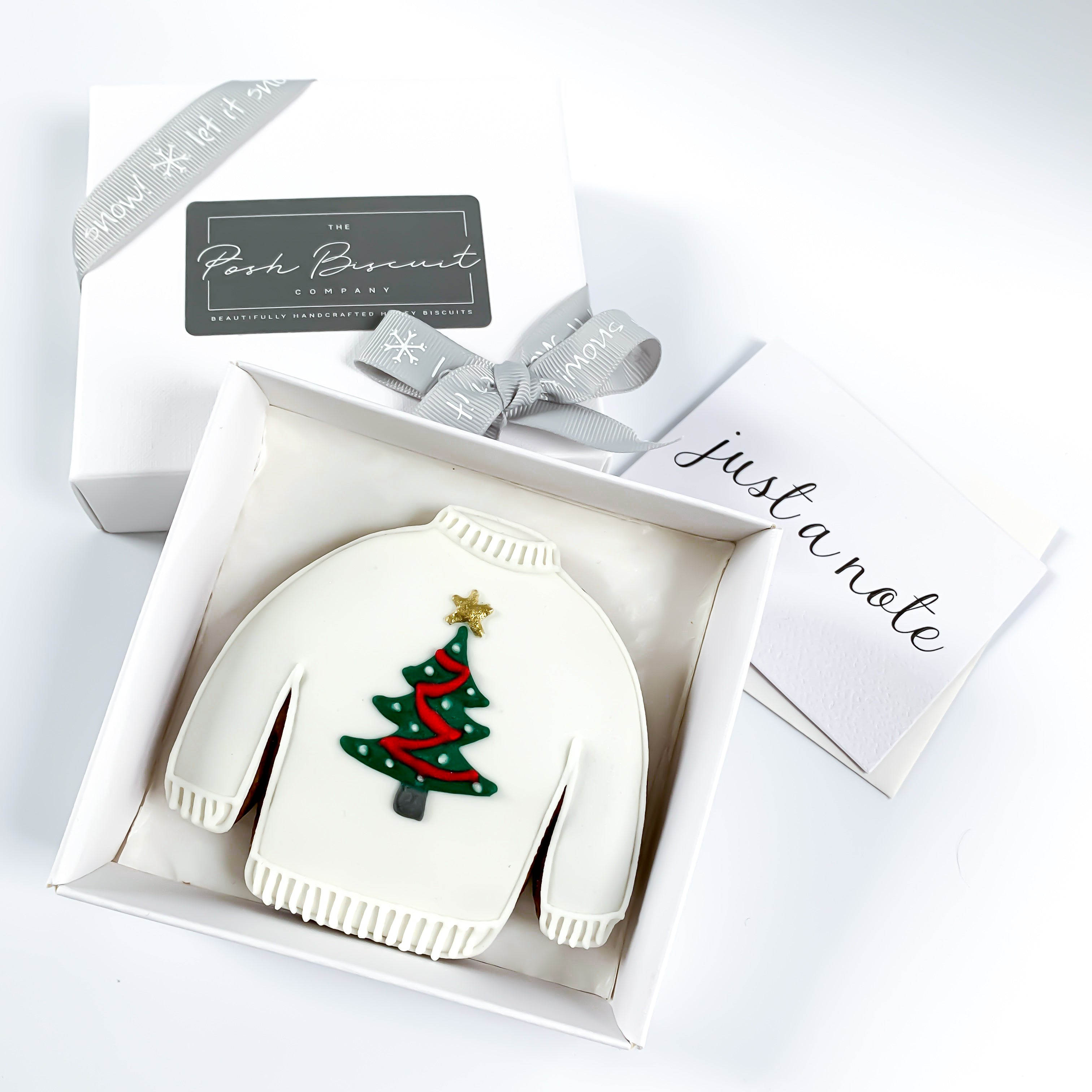 Posh Christmas Tree Jumper single biscuit gift box