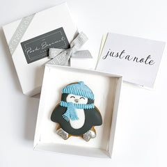 Posh Penguin single biscuit gift box