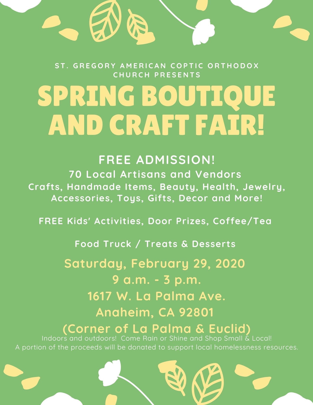 Spring Boutique and Craft Fair free admission Saturday February 29, 2020 (am to 3pm 1617 La Palma Ave. Anaheim, Ca 92801