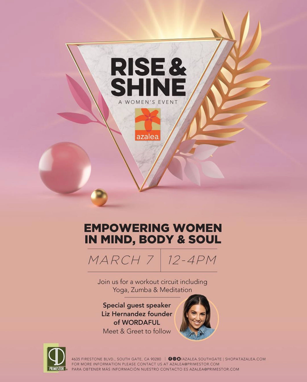 Empowering Women event with special guest Liz Hernandez Saturday March 7, 2020 at the Azalea shopping center in South Gate, CA