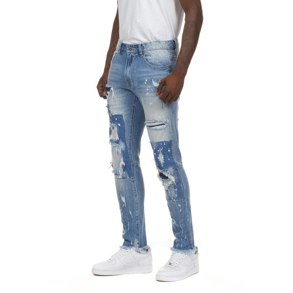 Smoke Rise Fashion Denim Patch & Splatter Jeans (Ocean Blue)