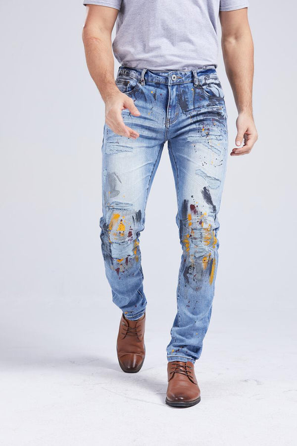 Foreign Local Slim Skinny Paint Brushed Jean (Paint Brushed)