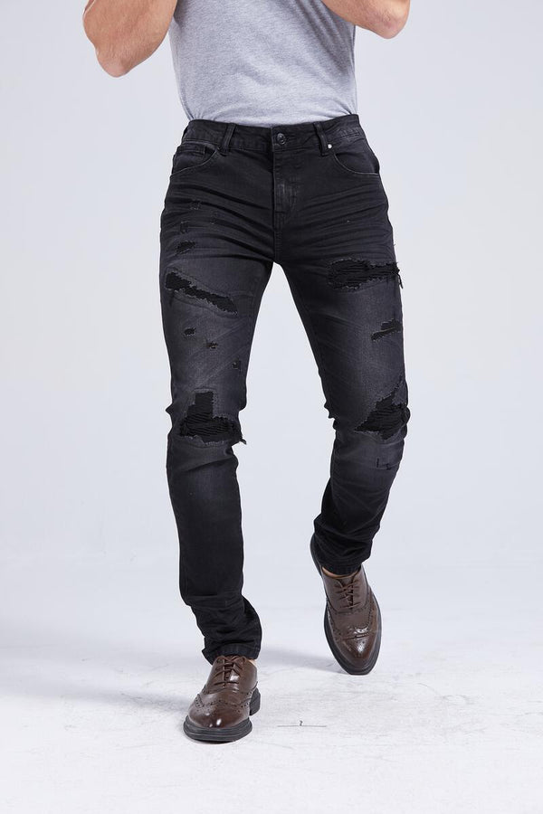Foreign Local Slim Skinny Distressed Rips and Repairs Jeans (Black)