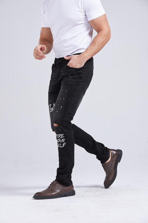 Foreign Local Slim Skinny Graffiti Jeans (Black/Paint Splatter)