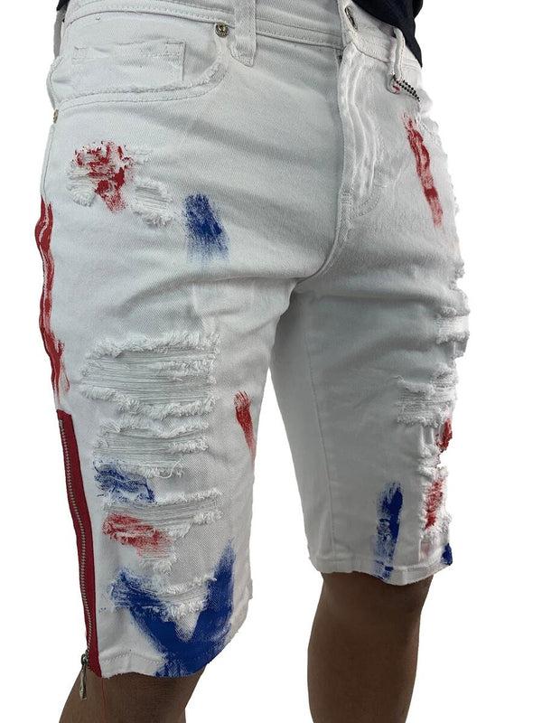 Preme Paint Splatter Shorts (Red/Blue)
