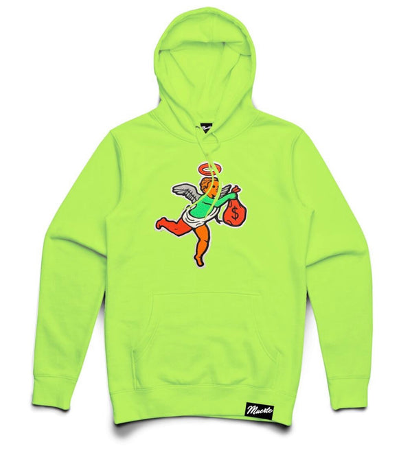 Hustle Daily Money Angel Chenille Patch Hoodie (Neon Green)