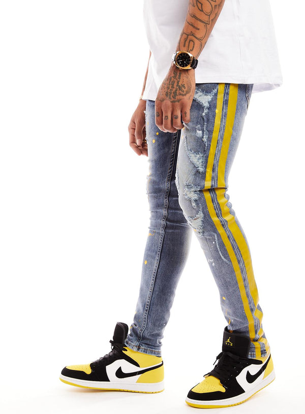 Reelistik Paint Splatter Denim (Yellow Stripe)