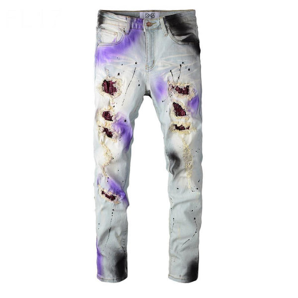 DNA Rhinestones Patches Denim (Purple/Black Paint Splatter)