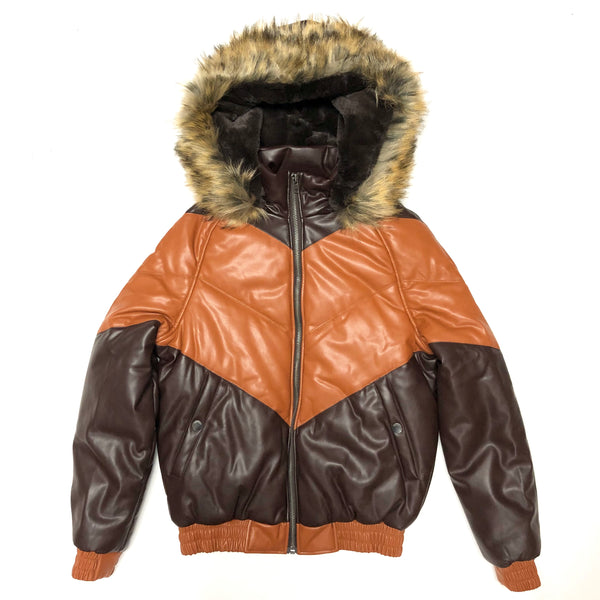 Dakoma Men Colorblock Leather Jacket W/Fur Hood (Brown/Rust)