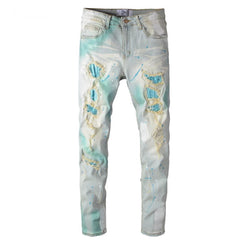 DNA Rhinestones Patches Denim (Turquoise Paint Splatter)