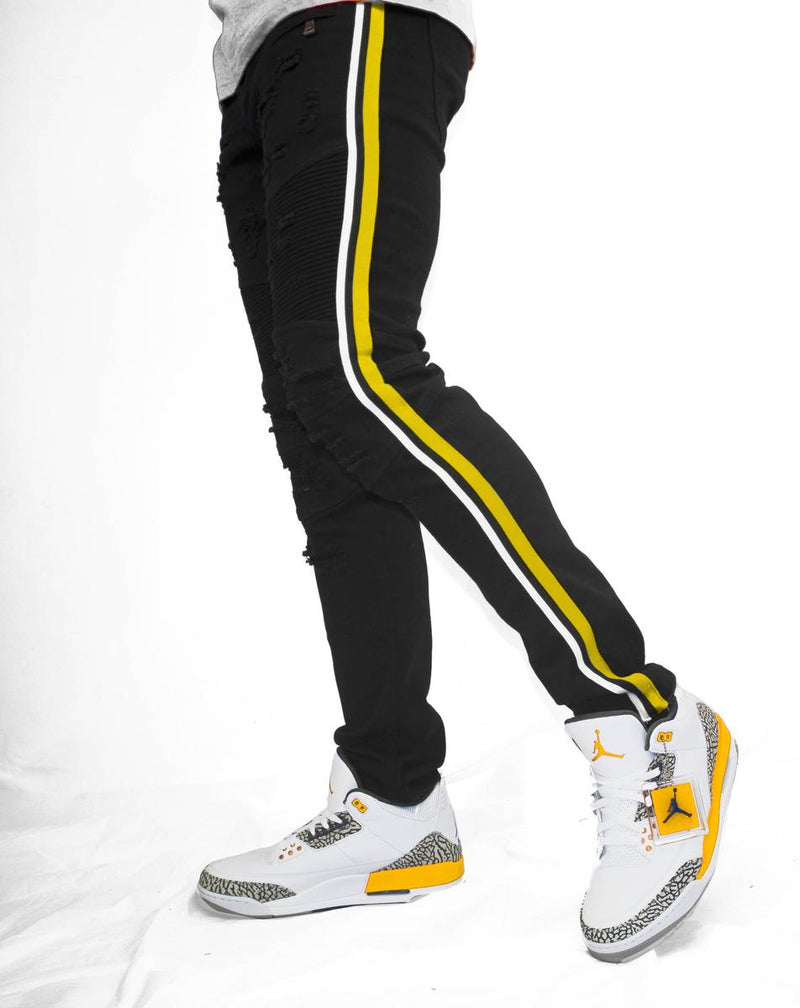 Preme Denim Buffalo Black Jeans (Black/Yellow/White Stripe)