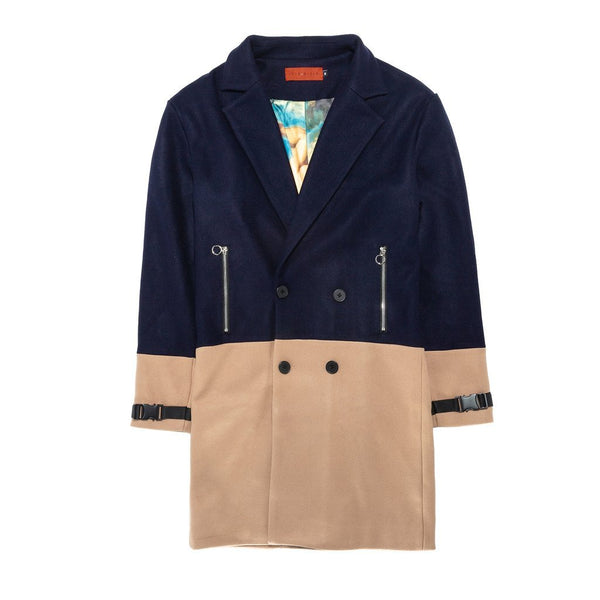 Vie Riche Two Tone Overcoat (Navy)