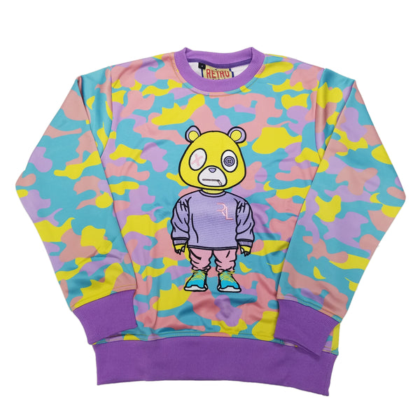 Retro Label Drip Bear Crewneck (Easter Camo)