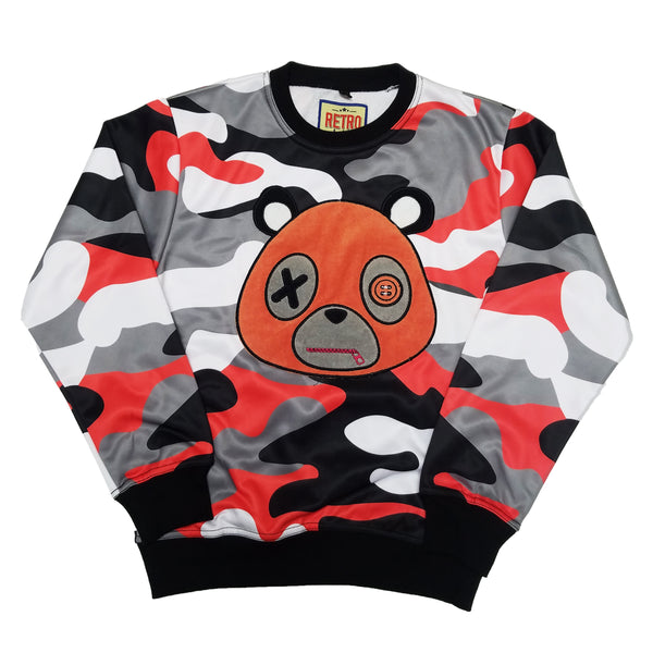 Retro Label Mask Bear Crewneck (Orange Camo Multi)