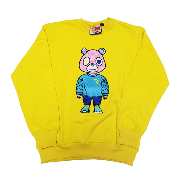 Retro Label Drip Bear Sweatshirt (Yellow)