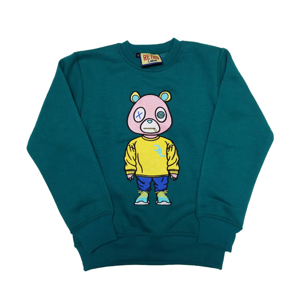 Retro Label Drip Bear Sweatshirt (Turquoise)