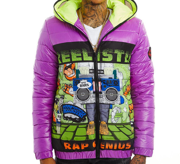 Reelistik Rap Genius Bubble Jacket (Green/Purple)