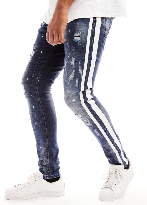 Reelistik Paint Splatter Denim (White Stripe)