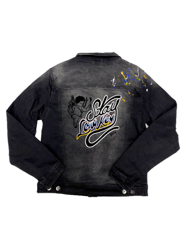 Black Keys Stay LowKey Paint Splatter Jean Jacket (White/Blue/Yellow)