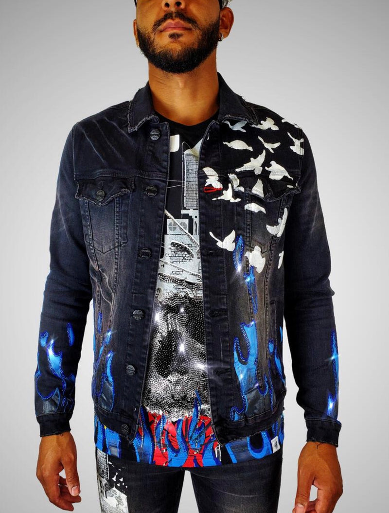 Industrial Indigo Flame Rhinestone Denim Jacket (Black)