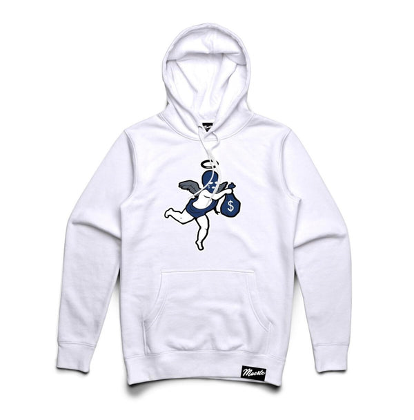 Hustle Daily Money Ski Mask Angel Chenille Patch Hoodie (White)