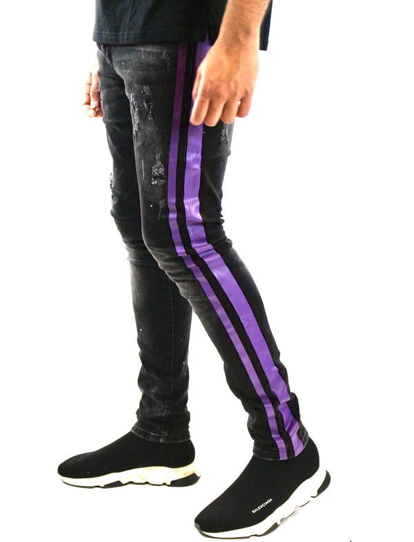 Reelistik Paint Splatter Denim (Black/Purple Stripe)