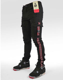 Industrial Indigo Cargo Taping Jean (Black/Red)