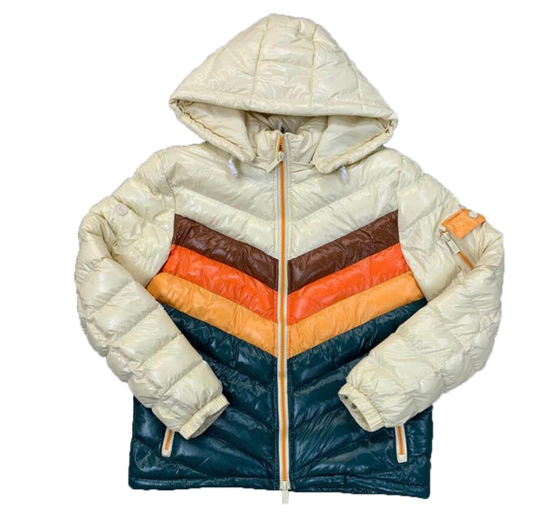 Black Keys Color Block Jacket (Cream/Orange/Green)