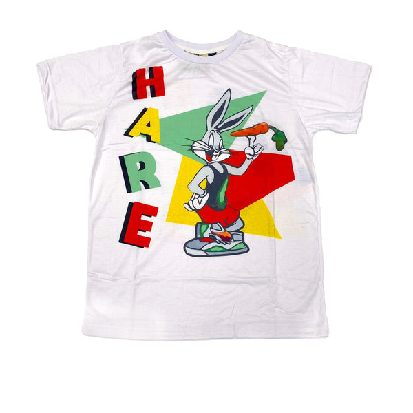Retro Label Hare Bugs Tshirt (White Hare)