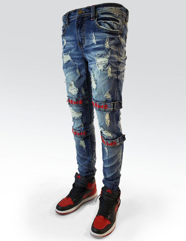 Preme Denim Strap Blue Jeans (Red)