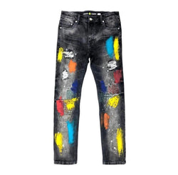 Create 2MRW Painted Embroidery Jean (Black Paint Splatter)