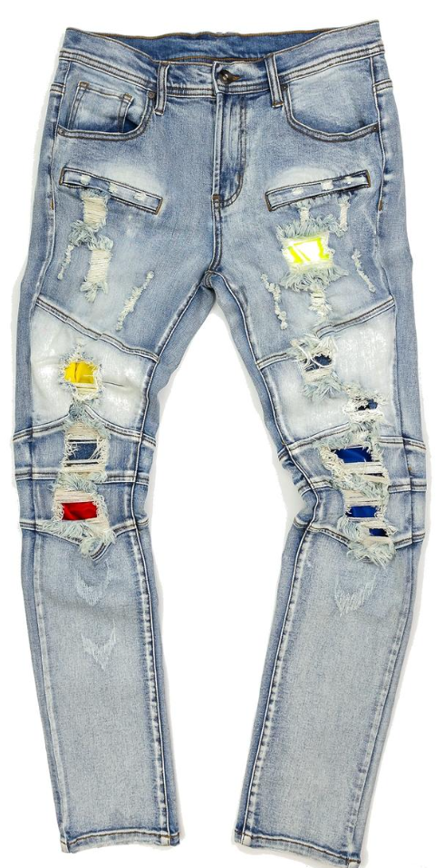 Create 2MRW Biker ripped color Jean (Light Blue)