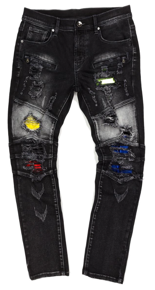 Create 2MRW Biker ripped color Jean (Black)