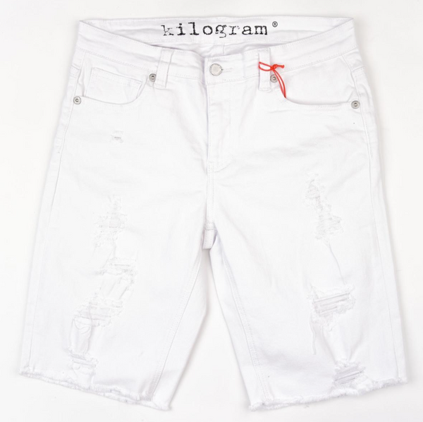 Kilogram Wash Rip Shorts (White)