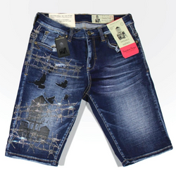 Industrial Indigo Graphic Shorts (Dark Wash)