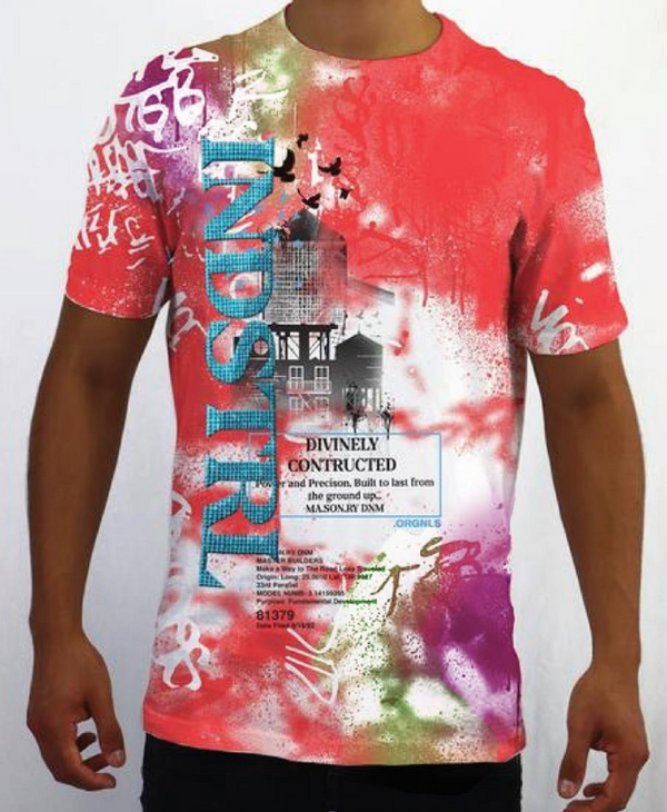 Industrial Indigo Spray Paint Tee (Pink)