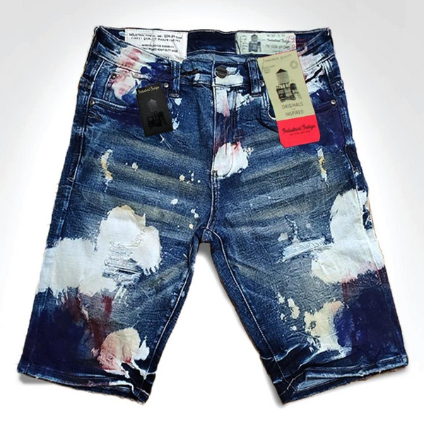 Industrial Indigo Spray Paint Shorts (Dark Wash)